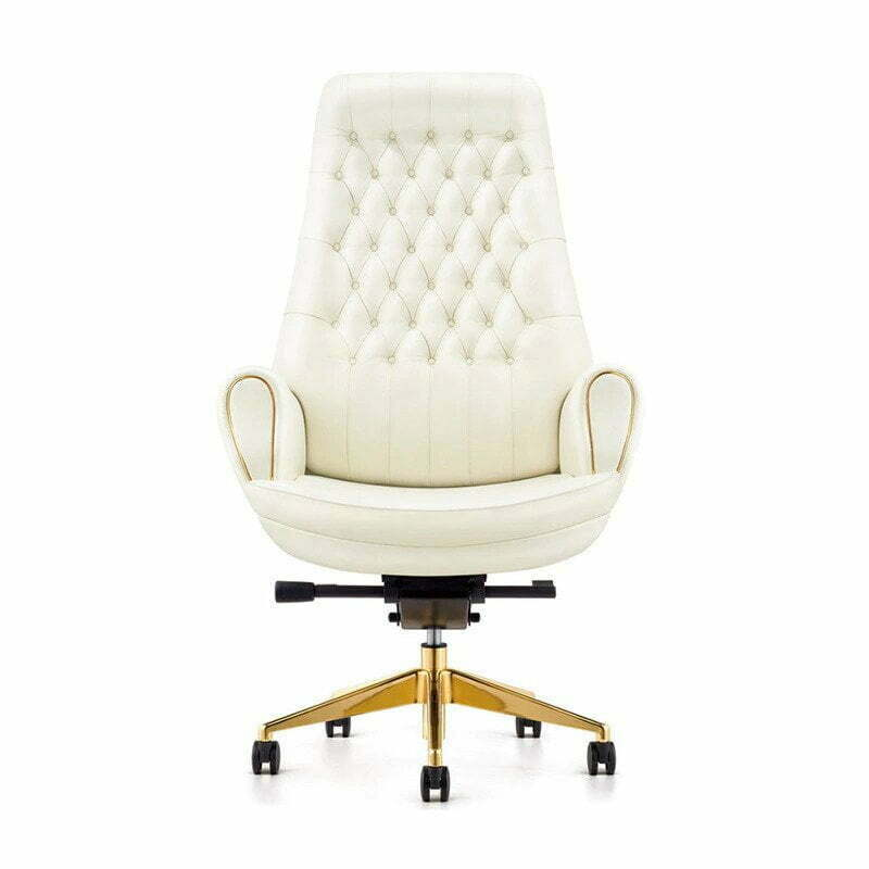 marker white leather chair